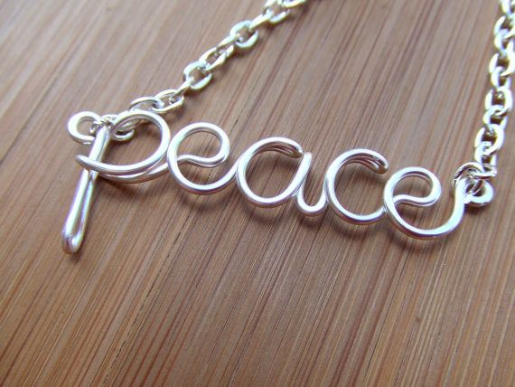Peace Necklace Wire Word Necklace by deannewatsonjewelry on Etsy, $17.95