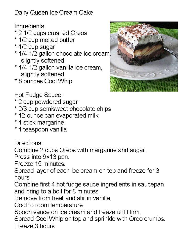 dairy queen log cake ingredients