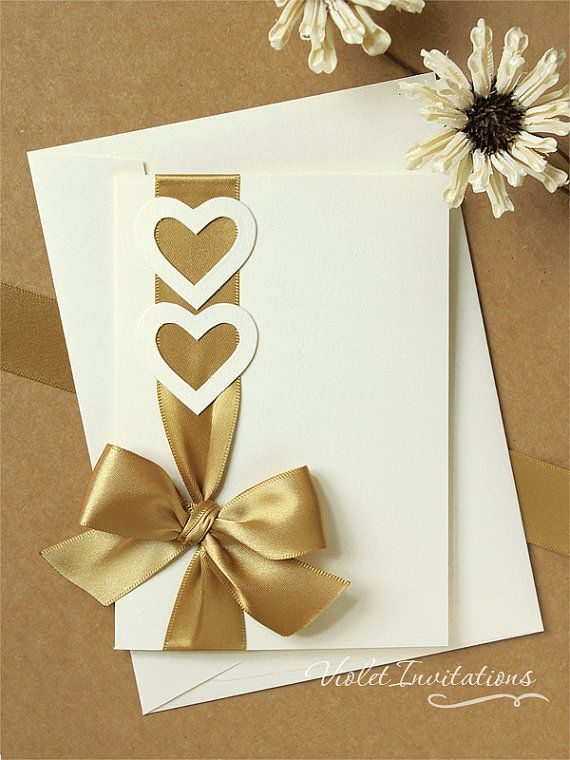 Invitación de la boda de Marfil oro hecho a por VioletInvitations