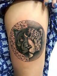 Image result for black jaguar face sketch tattoo symmetrical
