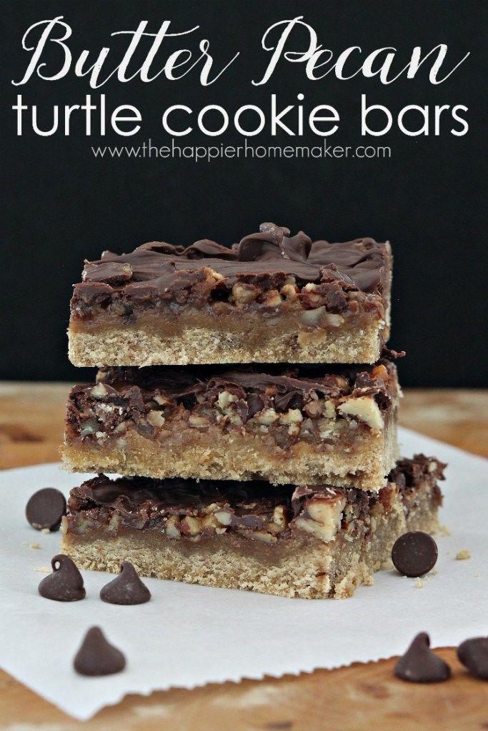 Butter pecan turtle cookie bars by The Happieri Homemaker