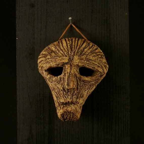 a Ceramic mask, made by Juri Etto, sold on Etsy. Ceramic, Stoneware, Sculpture, old