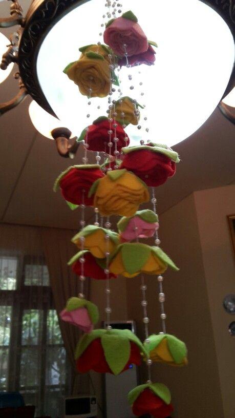 Felt flower chandelier