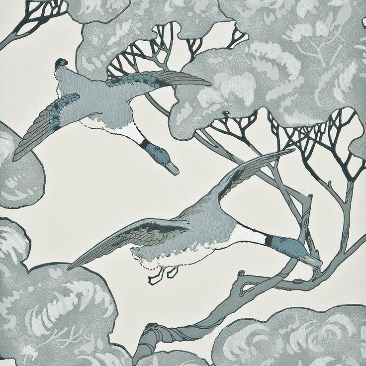 Discover+the+Mulberry+Home+Flying+Ducks+Wallpaper+-+FG066/R104+Aqua+at+Amara