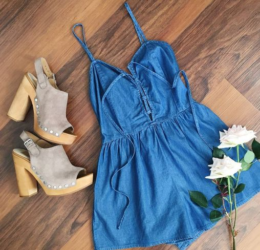 jean romper hertrack.com summer outfits. Summer romper. Outfit ideas. Summer fashion. Wedges.