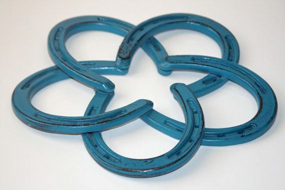 Distressed Teal Authentic Horse Shoe Star Wreath ((Home or Barn Art and Decor))