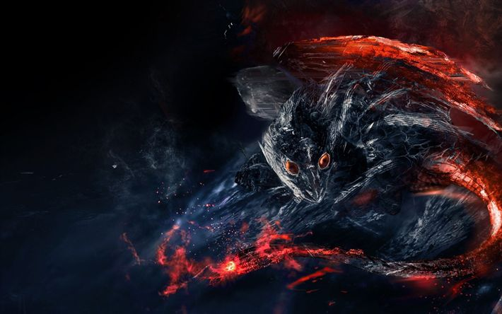 Download wallpapers fire dragon, volcano, fire, heat, smoke, creative dragons, lava