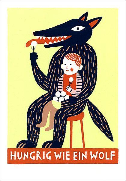 """Katrin Stangl  (Oral-aggressive Thematik, aber auch Bezug zur Märchenfigur, den """"bösen Wolf"""" oder den """"schwarzen Mann"""", vor dem sich Kinder eigentlich in Acht nehmen sollten.)"""