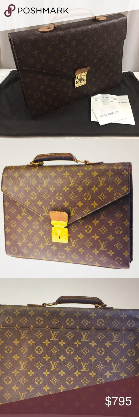 🆕 Louis Vuitton Conseiller Briefcase 💼 Authentic LV serviette Conseiller briefcases, Brown Monogramed Leather, Gold Hardware, one open pocket outside, pocket inside, very good condition, preowned, purchase in 2014, comes with dust bag and store receipt. Louis Vuitton Bags Laptop Bags