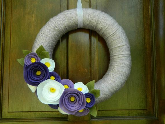 Summer Wreath - Spring Wreath - Lilac Yarn Wrapped Wreath with Yellow, Violet, Orchid and White Flowers and Olive Leaves - 16 inch via Etsy