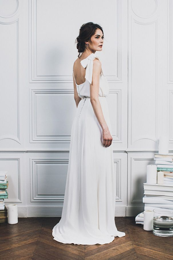 Floor length, low back, bow shoulder beauty