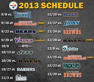 2013 @Pittsburgh Steelers Football Schedule. #Steelers #NFL