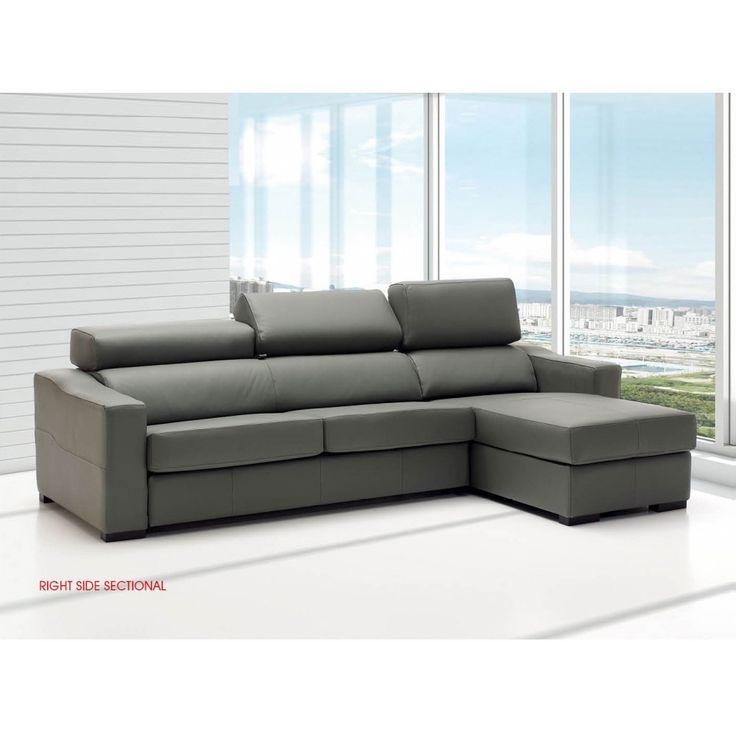 lucas sectional sofa in grey leather by esf