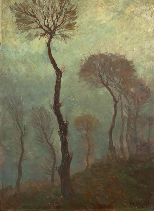 Karel Nejedlý (Czech, 1873-1927), A Study of Trees. Oil on cardboard, 65 x 48 cm.