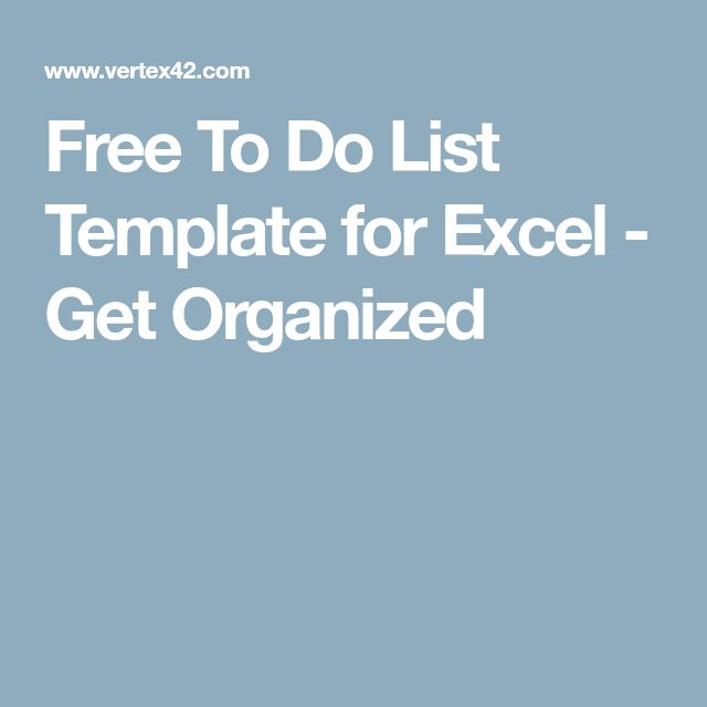 Free To Do List Template for Excel - Get Organized