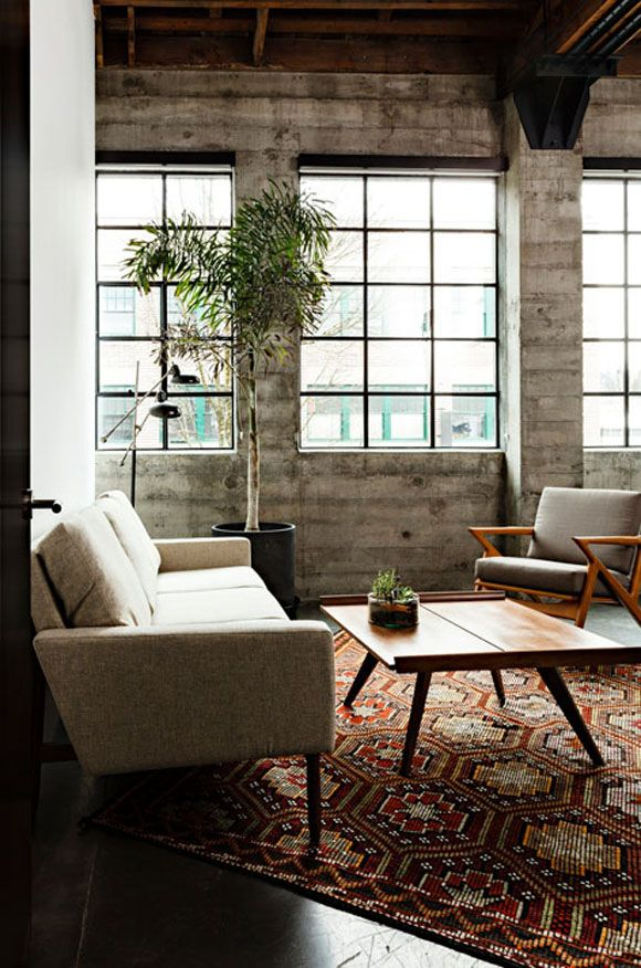 Great pieces, awesome windows, amazing texture. Loving this mix.  Design: Jessica Helgerson Interior Design