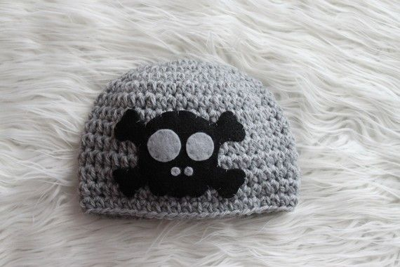 Skull and Crossbones Beanie Hat  Punk Rock by BlessedBambino, $25.00