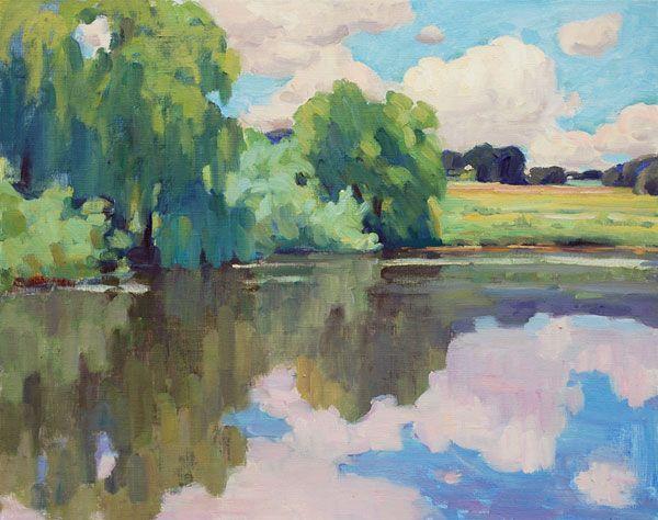 Summer Landscape, oil painting on canvas, 60 x 75 cm, (23″ x 29″),  #landscape