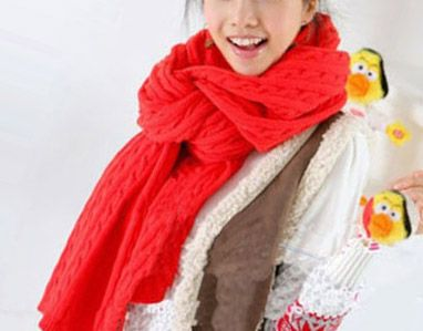 Long Warm Knit Wool Scarf