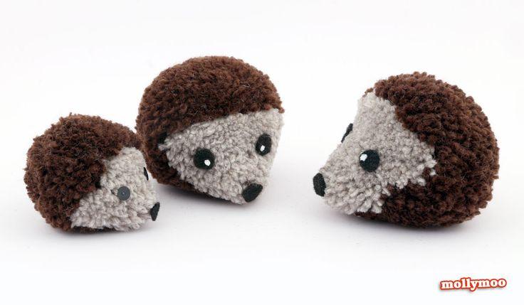 mollymoo.ie - how to make pom pom hedgehogs