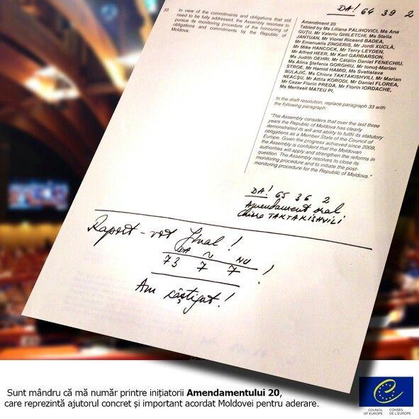 Sunt mândru că mă număr printre inițiatorii Amendamentului 20, care reprezintă ajutorul concret și important acordat Moldovei pentru aderare.