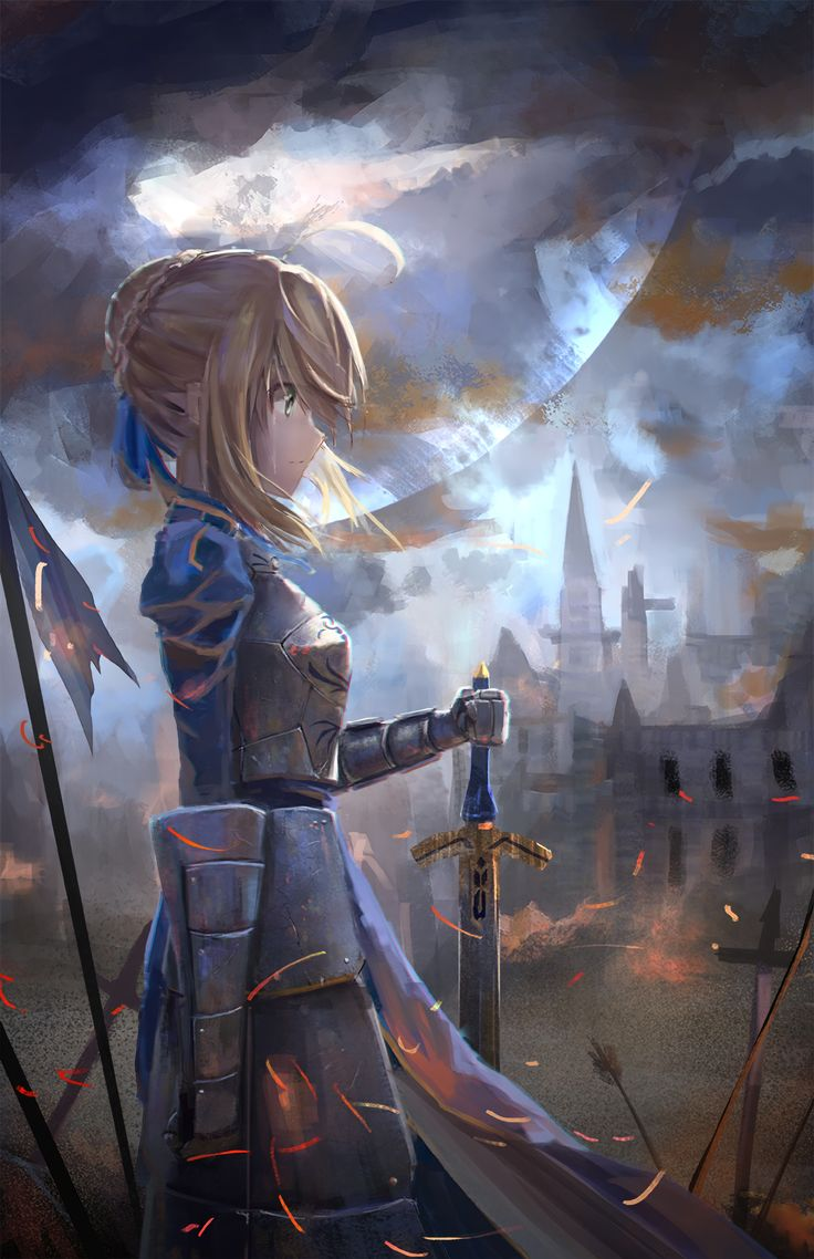 Anime 1552x2400 anime anime girls Fate/Zero Fate/Stay Night Saber armor sword weapon Moon short hair blonde