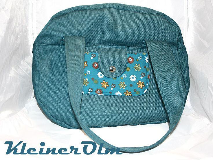 Handtasche Petrol mit Blumen Bowlingbag von KleinerOlm auf DaWanda.com