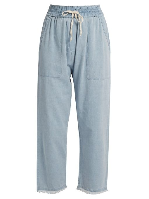 Masscob Pantalon raccourci en denim à ourlet effrangé