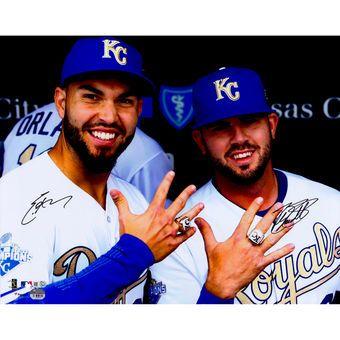 "Eric Hosmer, Mike Moustakas Kansas City Royals Fanatics Authentic Autographed 16"" x 20"" Showing World Series Rings Photograph"
