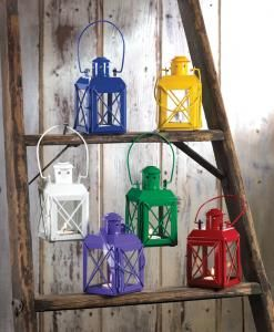 Set Of 6 Colorful Assorted Railroad Style Railway Candle Lanterns Garden  Patio