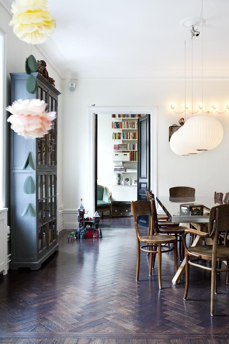 Camilla KrishnaswamyDining Room, Black Doors, Pompom, Living Room, Interiors Design, Floors Design, Pom Pom, Design Home, Herringbone Floors