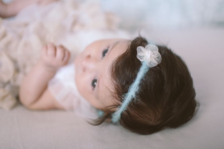 Baby hair accessory. spring/summer. Organic hair accessory. Blue with white flower Crochetbynina  CrinaCurescu
