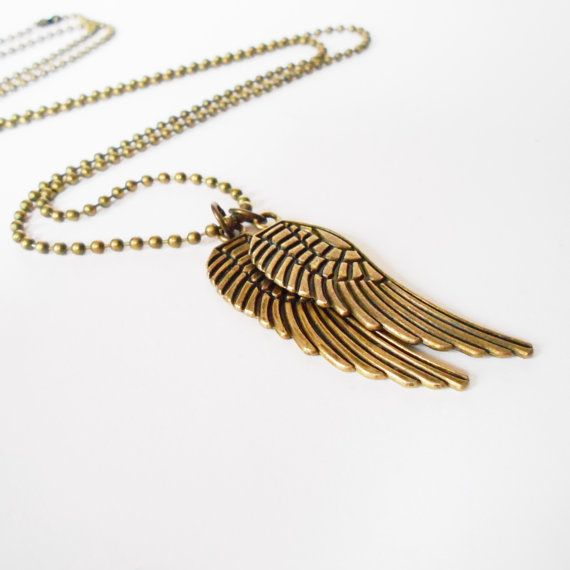 Mens Bronze Angel Wings Necklace Everyday Necklace Brass