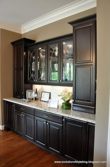 Amazing built in buffet this is what i see as the butler for Dining room armoire