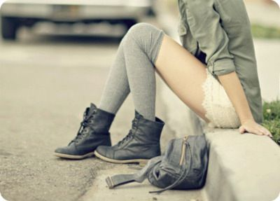socks and boots: Knee High, Fashion, Thigh High, Style, Outfit, Socks, Boots