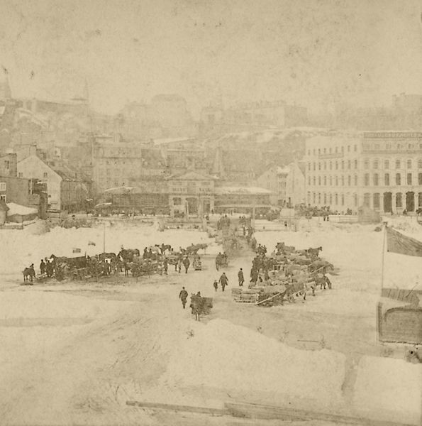 Crossing the ice bridge from Quebec City to Lévis by the Finley market (now known as Place de Paris), Quebec City, 1879 ~ 1890, late 19th century