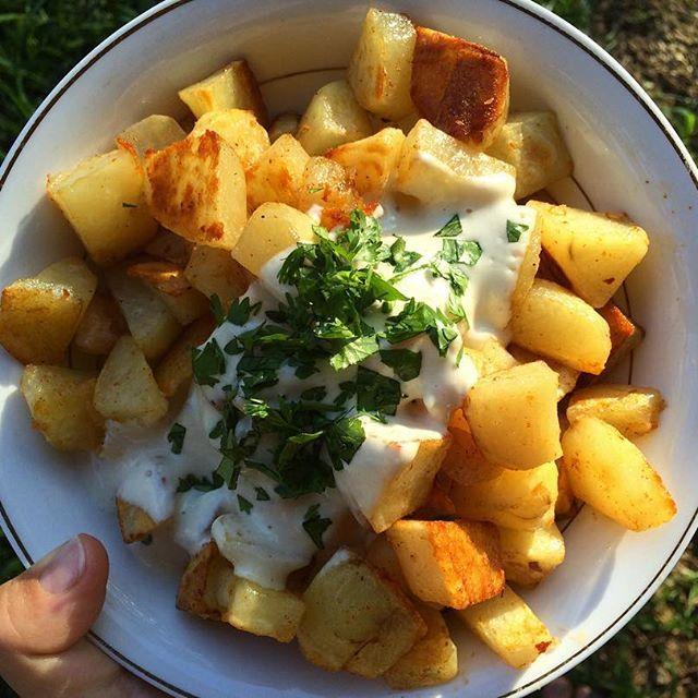 Libanease potatoes with tahini garlic sauce. Comfort food tonight! #vegan #whatveganseat #plantbased