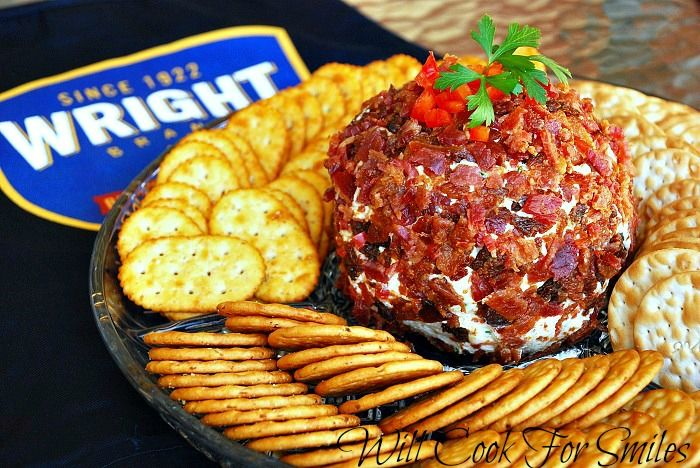 Bacon Covered Pepper Cheese Ball and Bacon Party | from willcookforsmiles.com | #bacon #appetizer #party