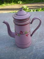 CAFETIERE TOLE EMAILLEE DECOR FLORAL ROSES/CERISE / COFFEE POT ENEMALLED