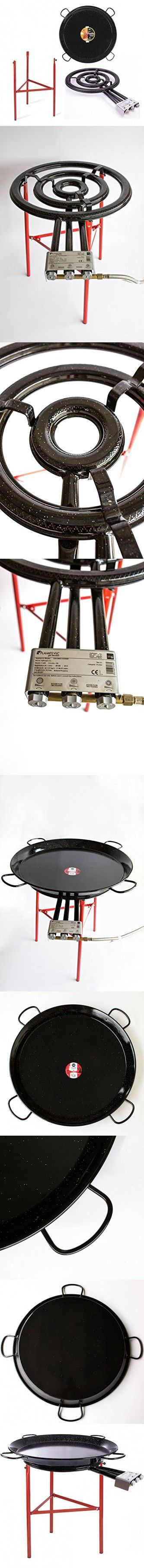 Paella Pan Enamelled + Paella Gas Burner and Stand Set - Complete Paella Kit for up to 40 Servings (Nonstick)