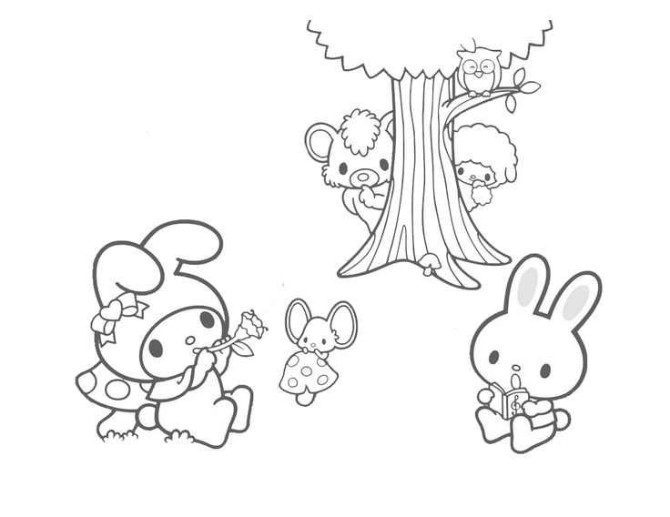 Hello Kitty And My Melody Coloring Pages : My melody colouring sheets coloring pages pinterest