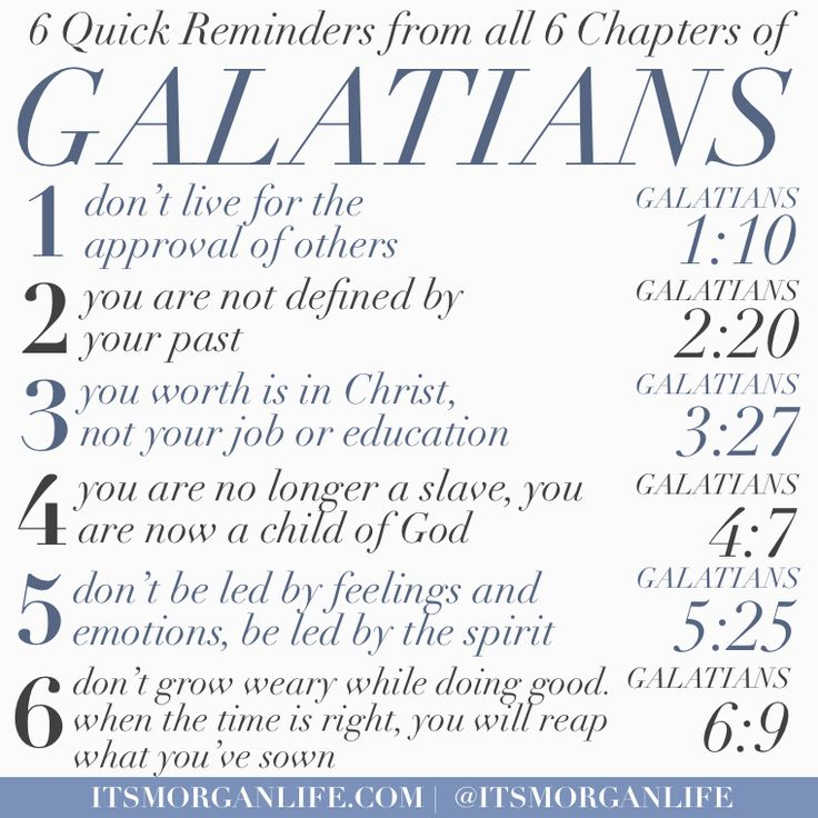 6 reminds from all 6 chapters of galatians
