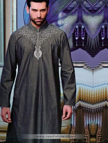 Cotton Silk Shalwar Kameez for Men, Embroidered Collar and Neck, Davys Grey