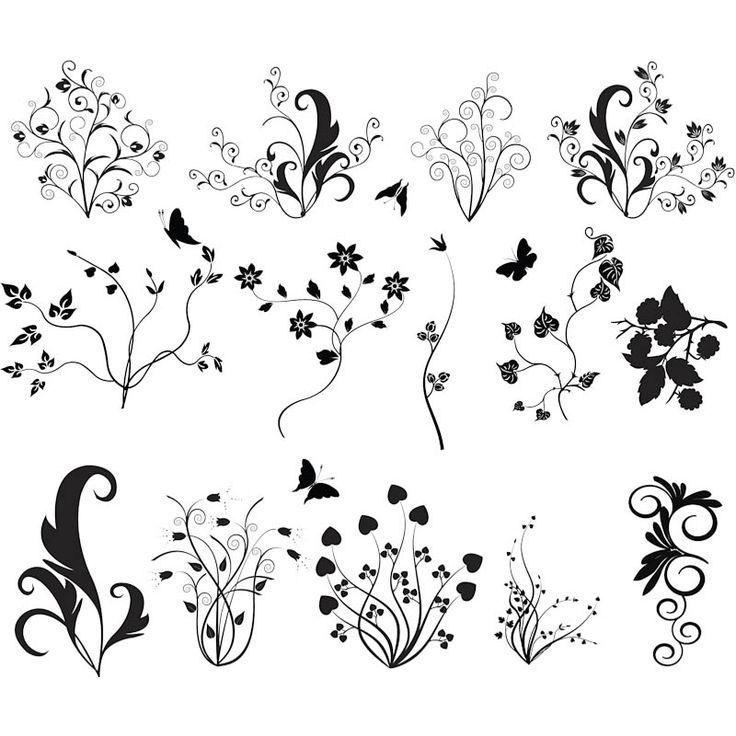 Black Flower Pattern Silhouette Stock Illustration: Floral Ornate Curls Vector
