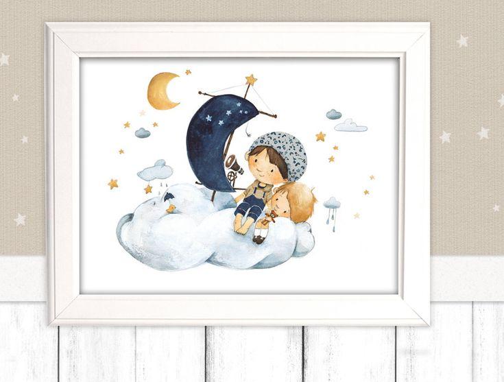 """Kinderbild """"Traumreise"""" (Poster Kinderzimmer) von Pipapier auf DaWanda.com  Ein Segelboot aus Wolken."""