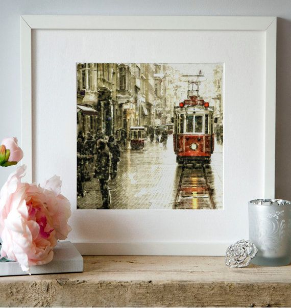 Istanbul Nostalgic Tramway watercolor painting for by Artsyndrome