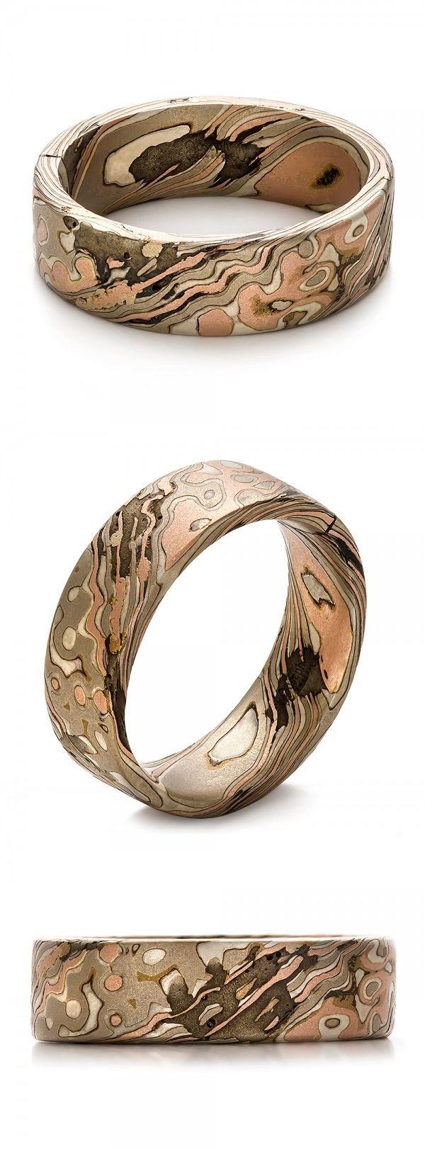 Custom Mokume Gane Men's Wedding Ring Band Nature Wood White Gold Silver Rose Gold Unique Joseph Jewelry | Seattle | Bellevue | Online