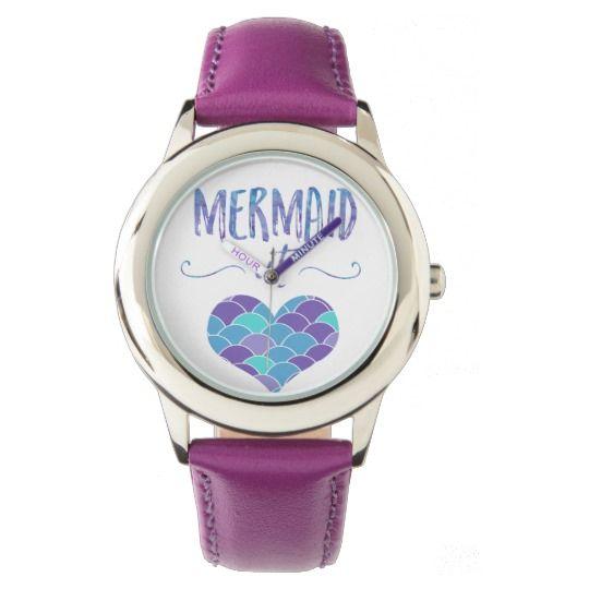 Stainless Steel Purple Mermaid at Heart Watch
