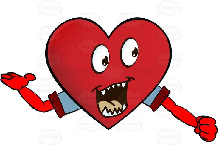 Pointed Teeth Heart Smiley With Open Mouth, One Arm Extended One Way, Other in Fist, Wearing Rolled Up Sleeves #arms #computer #emotion #expression #eyes #face #feeling #hands #heart #icon #monster #mood #PDF #pointed #scary #smiley #talking #teeth #vectorgraphics #vectors #vectortoons #vectortoons.com