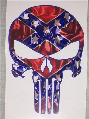 REBEL FLAG Punisher Skull Decal 8'X11'